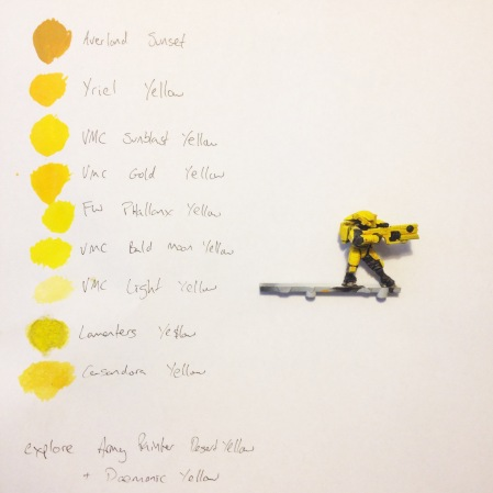 There are many yellow paints, all with varying degrees of pigmentation and coverage. Another option is to use yellow inks over a white undercoat as with this Fire Warrior.
