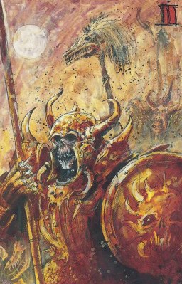 Once again I've used a restricted palette and initially sketchy painting style to evoke the qualities of John Blanche's artwork in my miniatures