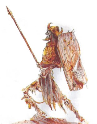 Skeleton Warrior by John Blanche from White Dwarf 338 March 2008 © Games Workshop – used without permission.
