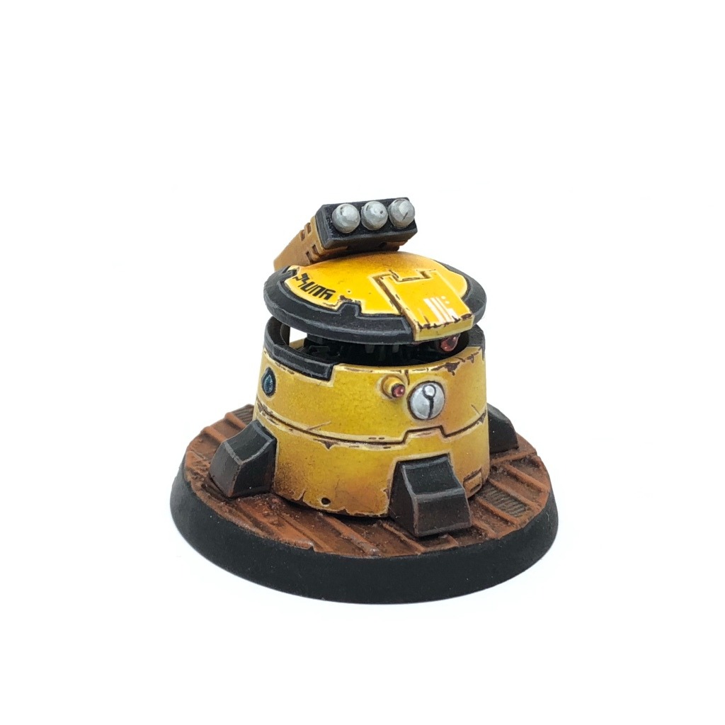Yellow T'au Kill Team Pathfinder DS8 Tactical Support Turret front